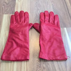 Accessories - Red leather and cashmere gloves sz Large